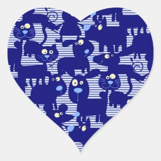 Gatos - perros y ratones en azul pegatina en forma de corazón