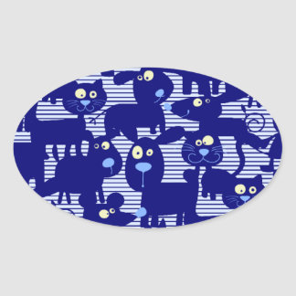Gatos - perros y ratones en azul pegatina ovalada