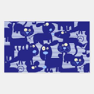 Gatos - perros y ratones en azul pegatina rectangular