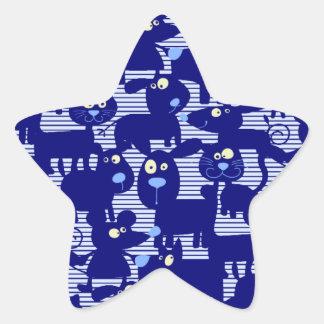 Gatos - perros y ratones en azul pegatina en forma de estrella