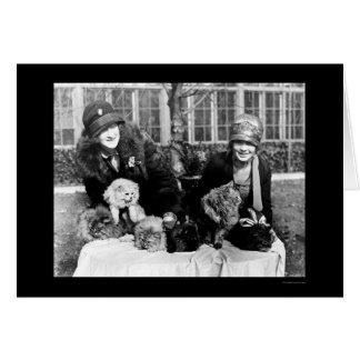 Gatos persas y señoras americanas 1924 tarjeta de felicitación