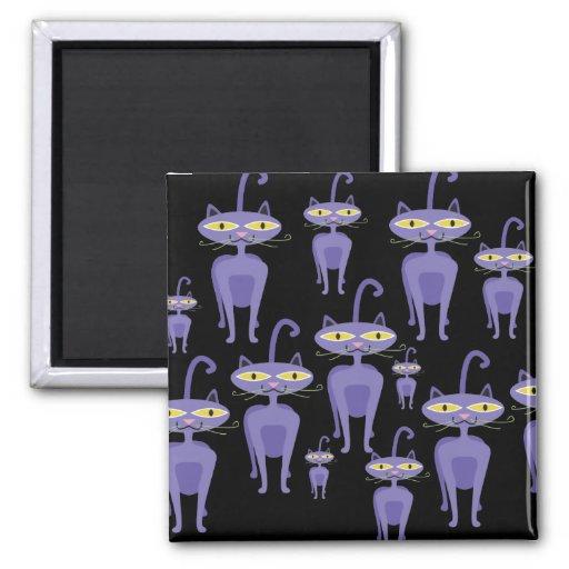 Gatos púrpuras imán cuadrado