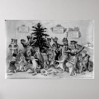 Gatos que adornan el poster del árbol de navidad