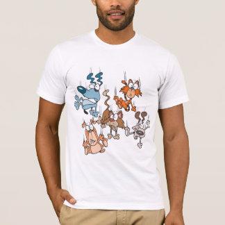 Gatos que caen y camiseta para hombre de los