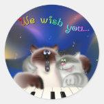 Gatos que cantan canciones del navidad etiqueta redonda