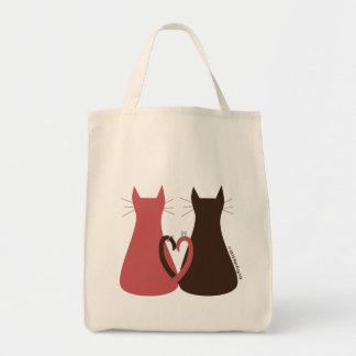 Gatos que casan el bolso bolsa tela para la compra