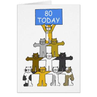 Gatos que celebran el 80.o cumpleaños tarjeta de felicitación