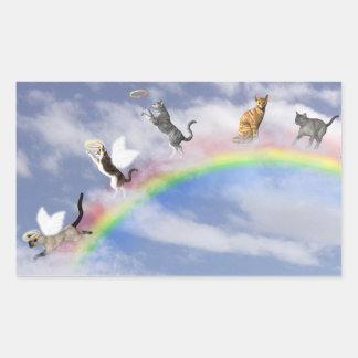 Gatos que cogen halos pegatina rectangular