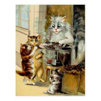 Gatos que comen las castañas asadas tarjetas postales