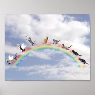 Gatos que esperan en el puente del arco iris póster
