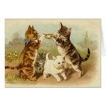 """Gatos que juegan a un juego"" Notecard Tarjeta"