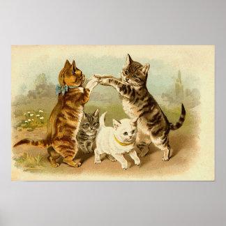 Gatos que juegan el ejemplo del vintage póster