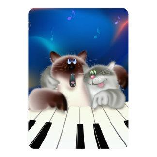 """Gatos que juegan el piano invitación 5"""" x 7"""""""