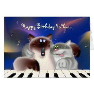 Gatos que juegan el piano felicitación