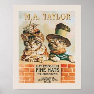 Gatos que llevan el poster de los gorras