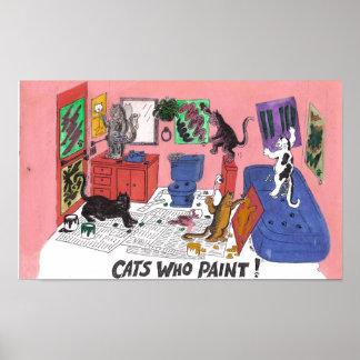 Gatos que pintan arte chistoso de la pintura de l impresiones