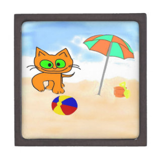Gatos que se divierten en la playa cajas de recuerdo de calidad
