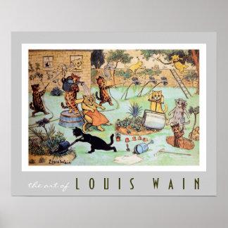 Gatos que siegan el césped de Louis Wain (1860-193 Póster