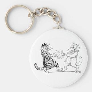 Gatos que tiran de la galleta llavero redondo tipo pin