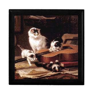 Gatos que tocan la guitarra cajas de joyas