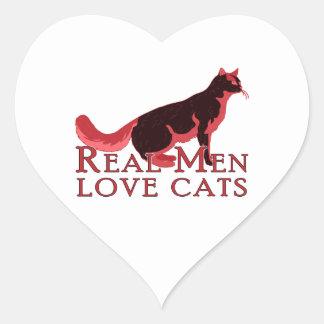 Gatos reales 2 del amor de los hombres pegatina corazón