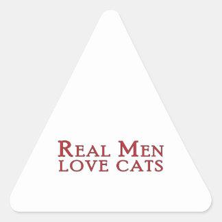 Gatos reales 3 del amor de los hombres pegatina triangulo personalizadas