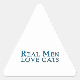 Gatos reales 4 del amor de los hombres pegatinas trianguladas personalizadas