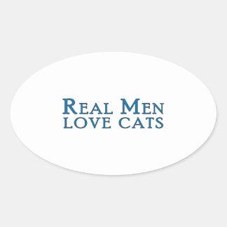 Gatos reales 4 del amor de los hombres calcomania óval