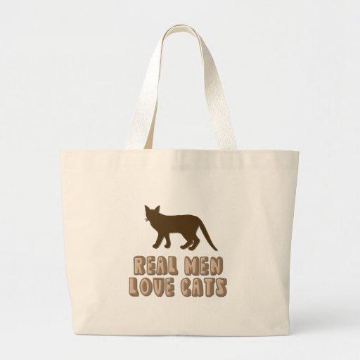 Gatos reales del amor de los hombres bolsa tela grande