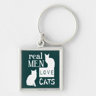 Gatos reales del amor de los hombres (disponibles llavero cuadrado plateado