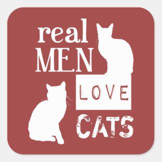 Gatos reales del amor de los hombres (disponibles pegatinas cuadradas personalizadas