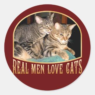 Gatos reales del amor de los hombres pegatina redonda
