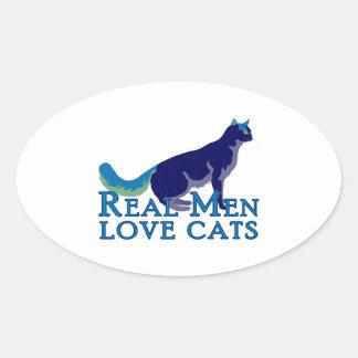 Gatos reales del amor de los hombres calcomanías de óvales personalizadas