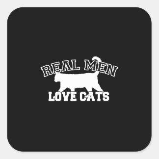Gatos reales del amor de los hombres pegatina cuadradas personalizadas