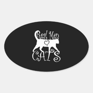 Gatos reales del amor de los hombres colcomanias óval personalizadas