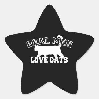 Gatos reales del amor de los hombres pegatinas forma de estrella