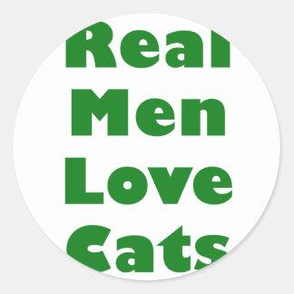 Gatos reales del amor de los hombres etiqueta redonda
