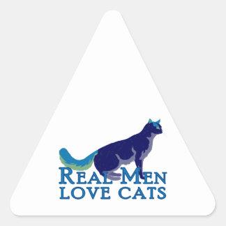 Gatos reales del amor de los hombres calcomanía trianguladas personalizadas
