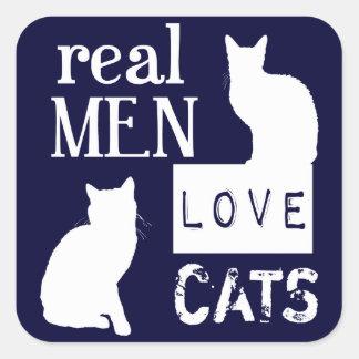 Gatos reales del amor de los hombres pegatinas cuadradas