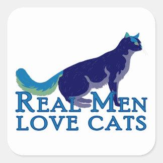 Gatos reales del amor de los hombres calcomania cuadrada personalizada