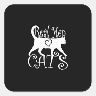 Gatos reales del amor de los hombres calcomania cuadradas