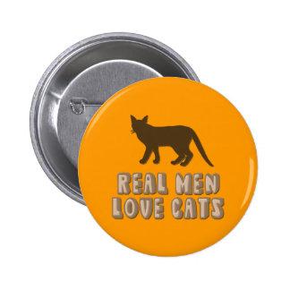 Gatos reales del amor de los hombres pin redondo de 2 pulgadas