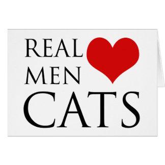 Gatos reales del amor de los hombres tarjeta de felicitación