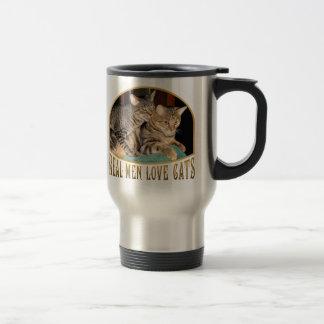 Gatos reales del amor de los hombres taza de viaje de acero inoxidable