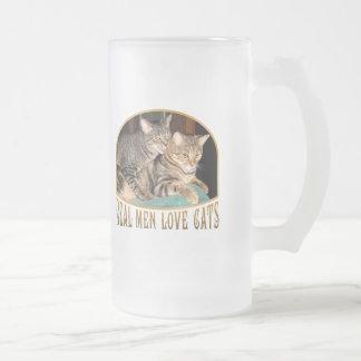 Gatos reales del amor de los hombres taza cristal mate