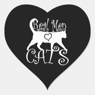 Gatos reales elegantes del amor de los hombres pegatina en forma de corazón