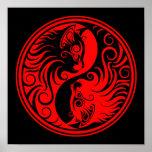 Gatos rojos y negros de Yin Yang Poster