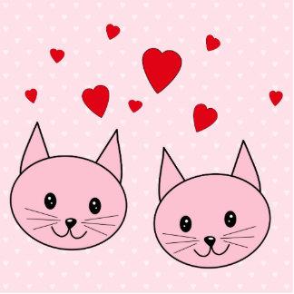 Gatos rosados con los corazones del amor fotoescultura vertical