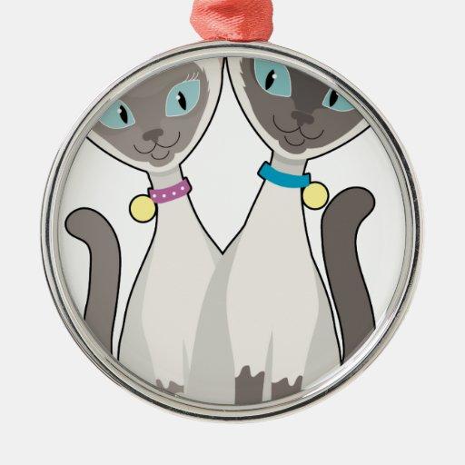 Gatos siameses adorno redondo plateado