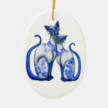 Gatos siameses del sauce azul ornaments para arbol de navidad
